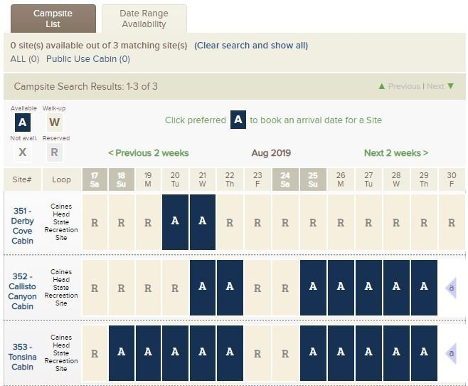 Reserve America Cabin Date Range Availability
