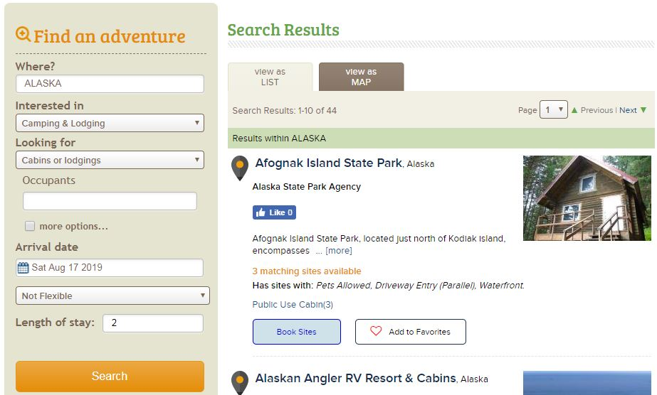 Reserve America Alaska Search