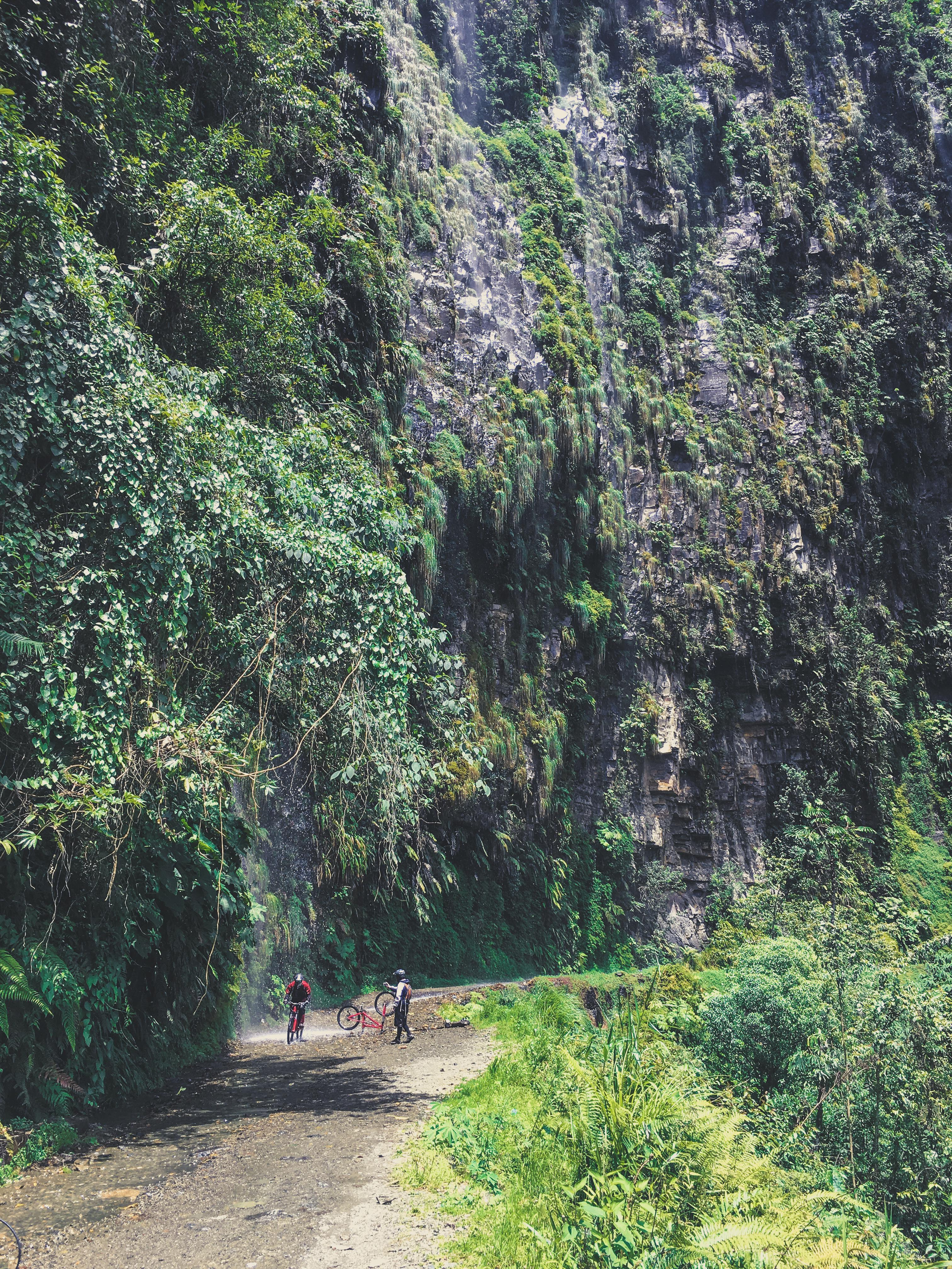 biking worlds most dangerous road bolivia waterfall