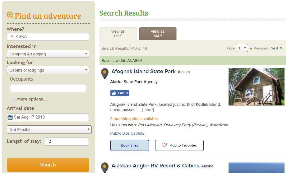 Reserve America Alaska Search