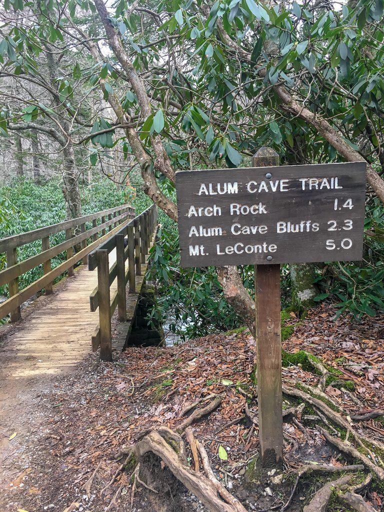alum cave trail sign