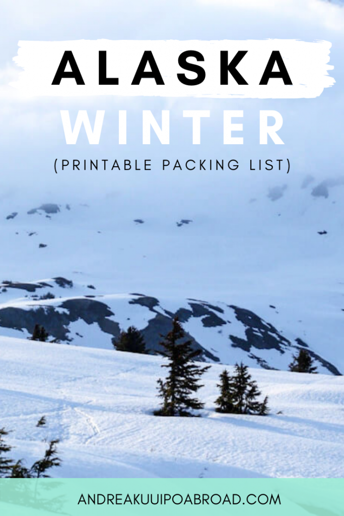 Packing for Alaska winter travel? Here is the best Alaska Winter Packing List with winter packing outfits for cold weather and snow. #alaska #alaskatravel #winterpacking #alaskapackinglist #packingchecklist #printablepackinglist #cozysweater #downvest
