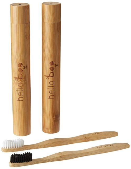 Bamboo Toothbrush Set with Travel Case