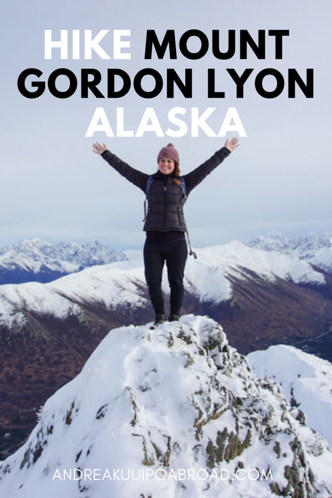 Hike Mount Gordon Lyon Trail Arctic Valley Alaska. This 4 mile roundtrip trail is a great day hike near Anchorage and offers incredible views of Eagle River and surrounding mountains. #Alaska #Hike #ArcticValley #MtGordonLon #WinterHike
