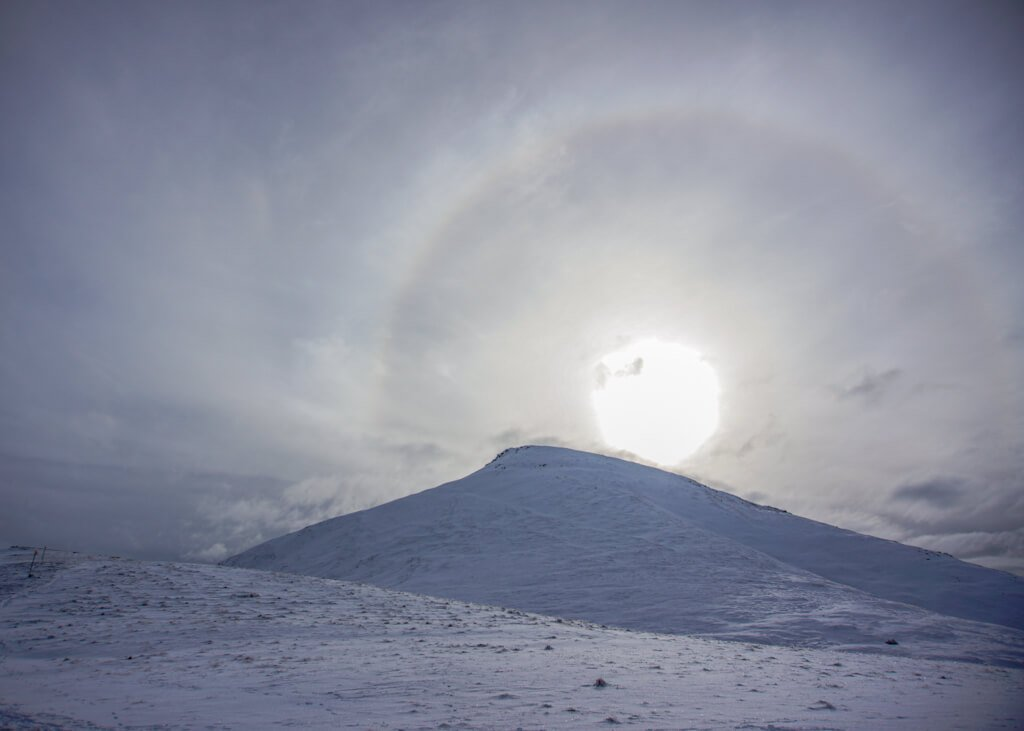 Sun halo above Rendezvous Peak Arctic Valley