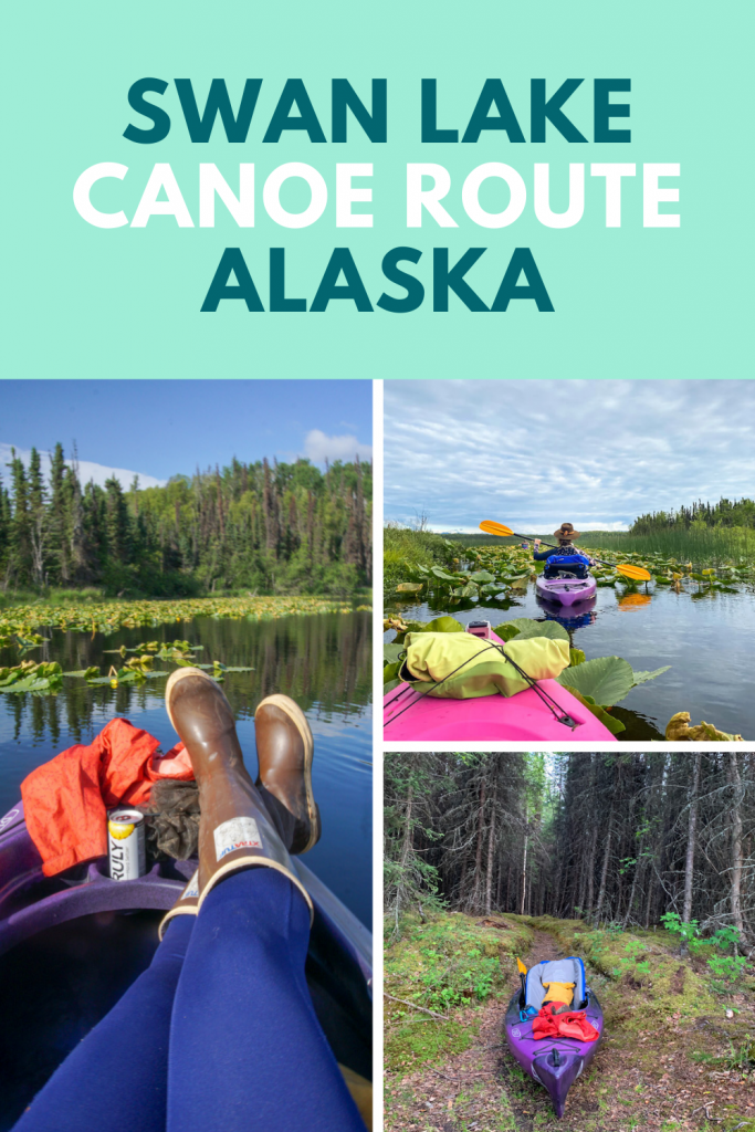 Swan Lake Canoe Route is a great overnight canoe camping trip in Alaska. Located in the Kenai National Wildlife Refuge this trail covers 60 miles and 30 lakes. You can plan one night or a multi-night trip exploring Alaska lakes. #alaska #kayak #travelalaska #adventuretravel