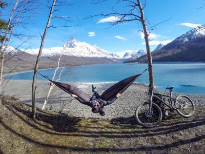 Biking Eklutna Lakeside Trail in Alaska