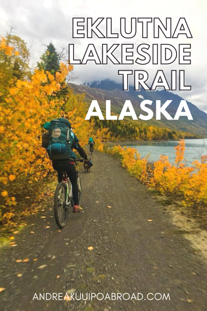 Eklunta Lakeside Trail is a biking and hiking trail in Alaska. The trail follows Eklutna Lake for seven miles and then continues along the river to the moraines of Eklutna Glacier, a glacier-fed lake that provides water to the city of Anchorage and surrounding areas. Add this adventure to your Alaska trip. #mountainbiking #bikingtrail #chugachstatepark #alaska #travelalaska