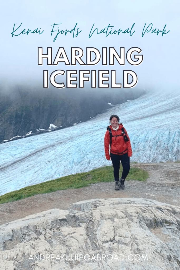 Hike Harding Icefield Trail in Seward, Alaska. This trail is located in the Kenai Fjords National Park and takes you to a view that overlooks a massive 700-square-mile icefield. If you are traveling to Seward, Alaska, this is a great day hike to add to your Alaska trip. #alaska #hiking #seward #kenaifjords #travelalaska