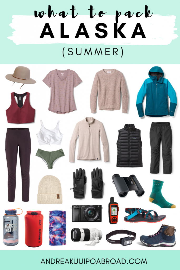 Looking for an Alaska summer packing list? If you're planning to travel to Alaska this summer for vacation, a cruise, and adventure then check out this packing list. You'll be surprised at what summer clothing and gear are listed on this Alaska summer packing list for June, July, August in Alaska. #alaskatravel #alaskapacking #packinglist #alaskasummer #alaskacruise #alaskaclothing