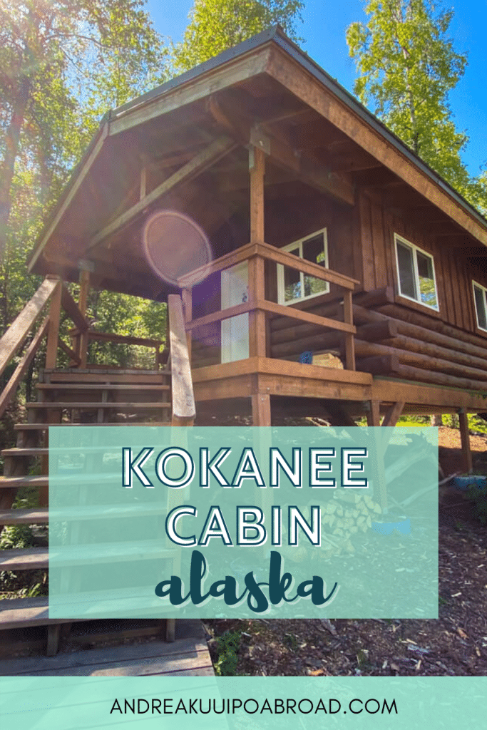 Stay at this public use cabin in Eklutna Alaska. Kokanee Cabin is a cabin that you can rent and is accessed after a 3.75 mile paddle on a beautiful glacier lake. If you want to add some adventure travel to your Alaska vacation then add this to your list. #alaska #hiking #kayaking #eklutnalake #cabinreview