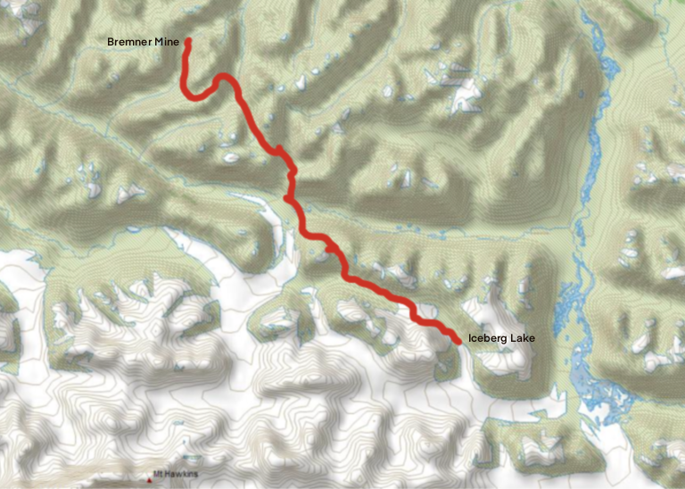 Iceberg Lake Bremner Mine Route