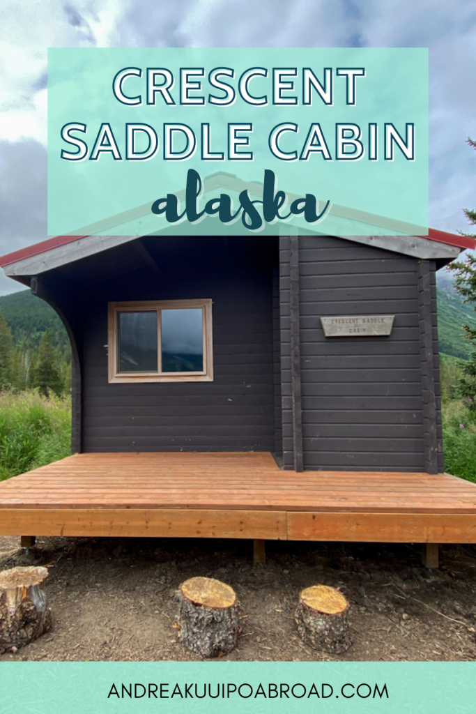 Stay at this public use cabin in Moose Pass Alaska. Crescent Saddle Cabin is a cabin that you can rent and overlooks Crescent Lake in the Kenai Mountains. If you want to add some adventure travel to your Alaska vacation then add this to your list. #alaska #hiking #publicusecabin #moosepass #cabinreview