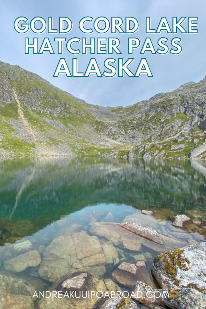 Hike Gold Cord Lake Trail in Hatcher Pass Alaska. Enjoy a beautiful emerald colored alpine lake on this easy, family-friendly hiking trail in Alaska. #alaskahiking #travelalaska #alaska #hiking